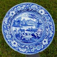 "Rare Antique Stone China Meir Plate Pastoral Blue Transferware Fishing Boys 10"""