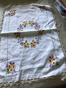 Vintage hand embroidered table linens