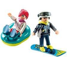 couple PLAYMOBIL® snowboard - luge - skieur, skieuse - neige - sports d'hiver