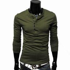 Mens Slim Fit Long Sleeve T-Shirt Tee Shirts Casual Fitness Tops Stylish Lunxury