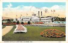La Crosse Wisconsin Steamer Capitol Levee Park Antique Postcard K71073