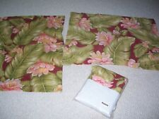 Queen 3-Pc Set Bed Skirt/ New Dust Ruffle+2 Pillow Shams Floral 100% Cotton