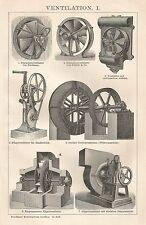 B0439 Varietà di Ventilatori - Xilografia d'epoca - 1903 Vintage engraving