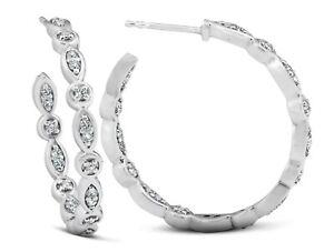 """14k diamond earrings hoops 1"""" inside outside 1 ctw round diamonds white 4.4 KRN"""