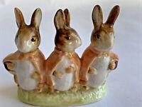 Vintage Beatrix Potter Flopsy Mopsy Cottontail  BP2a Gold Oval Figurine Beswick