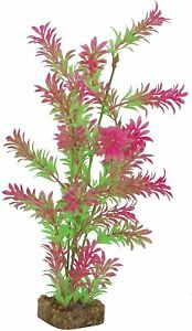 GloFish Plant Aquarium Decor Green & Pink L 12.5 inch Aqua heavy weighted decor