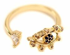 Hera Evil Eye of Good Fortune Gold Adjustable Open Ring in gift box | Crystal