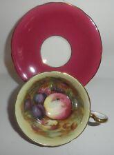 AYNSLEY England Signed D. jones Fruit Orchard Melon Tea Cup Saucer Burgundy