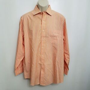 Brooks Brothers Mens Dress Shirt 16 34 Orange White Striped Traditional Fit