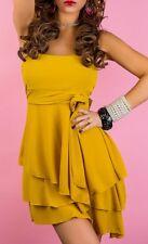 Sexy Miss Ladies Girly Bandeau Mini Dress Strapless Flounce Chiffon XS/S NEW