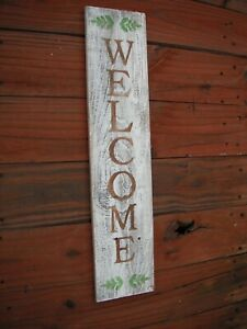 "Wood Front Door Sign WELCOME  Porch Vertical White Farmhouse Handmade 33"" Tall"