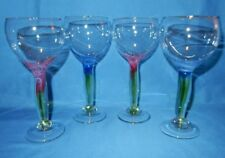 """Set of 4 Handcrafted Wine Cocktail Party Pink Blue Green Goblets Glasses 7.5"""" t"""