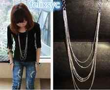 Vintage Style Silver 7 layer Long Tassel Pendant Necklace Sweater Chain Gift UK