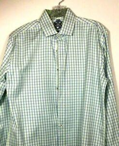 Men's English Laundry Shirt Sz 15.5 32/33 Blue Green Flip Cuff NWOT