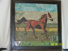 """""""Old"""" """"Large"""" Micro-mosaic of Tile-Horse- Hand Done-Signed Monogram Framed"""