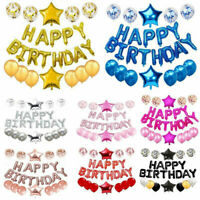 "16"" Happy Birthday Foil Helium Letters Balloons Set Latex Balloon Party Decor"