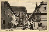 Rothenburg ob der Tauber Bayern s/w Postkarte ~1920/30 Feuerleinserker Kutsche