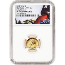 2018 American Liberty Gold High Relief 1/10 oz Proof $10 NGC PF70 Early Rel Flag