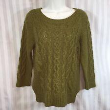 J.CREW Sz M Alpaca Wool Blend 3/4 Sleeve Green Cable Knit Sweater