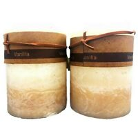 2 X Vanilla Cream Beige Scented Pillar Candle Candles Rustic Home Decor 7x10cm