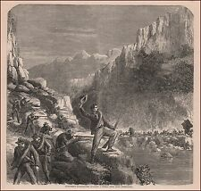 Chattanooga, Sharpshooters Attack Federal Supply Wagons, antique engraving 1868