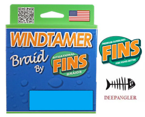 Fins Windtamer Braid Fish Line 20 LB, 500 Yards, Green Fishing Line, USA Made