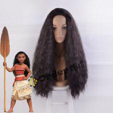 Moana Wig Long Curly Dark Brown Sythentic Hair Wig Cosplay Costume Wig +Wig Cap