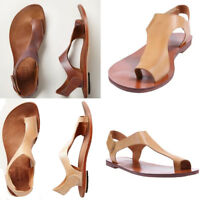 Women Sandals Flat Gladiator Flip Flop PU Leather Beach Rome Punk Shoes Brown