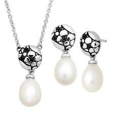 HONORA  8-8.5mm PEARL & BLACK SPINEL NECKLACE & EARRINGS SET - sterling silver