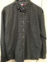 TOMMY HILFIGER Men's Long Sleeve Shirt | Size XL | 90s Retro Green & Blue Plaid