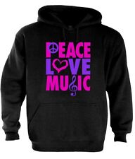 Peace Love Music Hoodie Sign Freedom VW World Hippie Hippy