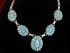 Vintage Native American Silver turquoise cluster squash blossom necklace JMW