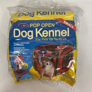 SPORT PET Kennel/Crate Pops Open Dogs Up to 25 Lbs SMALL - RED w Soft Bed - NEW