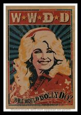 """Framed Vintage Style Rock 'n' Roll Poster """"W.W.D.D. - WHAT WOULD DOLLY DO? 12x18"""