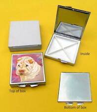 Shar Pei Colour Dog Polished Metal Square Pill Box with 4 compartments Gift