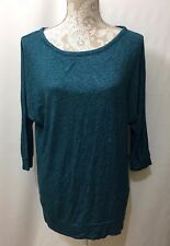 Hippie Rose Tunic Sweater Womens Large Russian Teal Green 3/4 Dolman Sleeeve New
