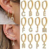 Wholesale A-Z Letter Alphabet Gold Zirconia Earrings Stud Dangle Hoop Women 1PC