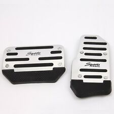 Universal Type-R Racing Sport 2pcs Non-Slip Aluminum Automatic Car Pedals Silver