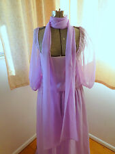 VTG Lavender Sheer Chiffon Maxi DRESS Halloween Costume Theater Genie Queen M L