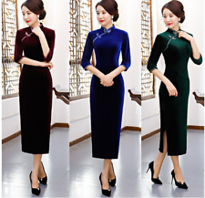 New Arrival Womens Luxurious Velvet Chinese Cocktail Dress Chinese Qipao Dress