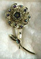 Vintage Sarah Coventry Rhinestone Rose Flower Gold Tone Pin Brooch Cov Jewelry