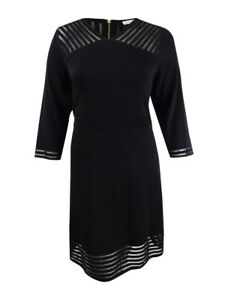Calvin Klein Women's Plus Size Illusion-Trim A-Line Dress (2X, Black)