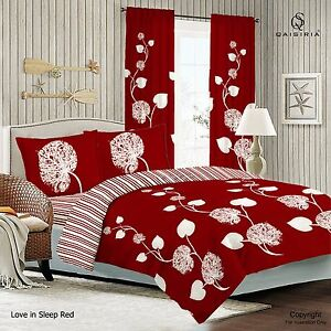 Love in Sleep Red Duvet Set OR Complete Bedding Set OR Matching Window Curtains