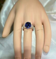 8 ct. PREMIUM AAA TANZANITE & 14 VVS DIAMOND TRIBAL GYPSY 14K W GOLD PLATED S-7