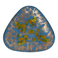 """Vintage Copper Enameled Plate Abstract Blue Gold Plate Dish Display Decor 5.5"""""""