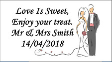 48 x Personalised Wedding Couple Party Stickers Labels Favours Sweet Bags Cones