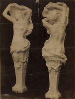 Deux Cariatidi Stampaggio Lavorazione Del Legno Vintage Albumina Ca 1890