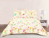 Unicorn Girls Bedding Twin or Full/Queen Comforter Bed Set, Floral Heart Pastel