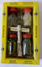 4 Bottles Set: Holy Water Earth Soil Olive Oil Frank Incense Wood Cross Crucifix