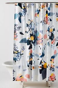 Anthropologie Botanica Shower Curtain Floral Pastel  Blue